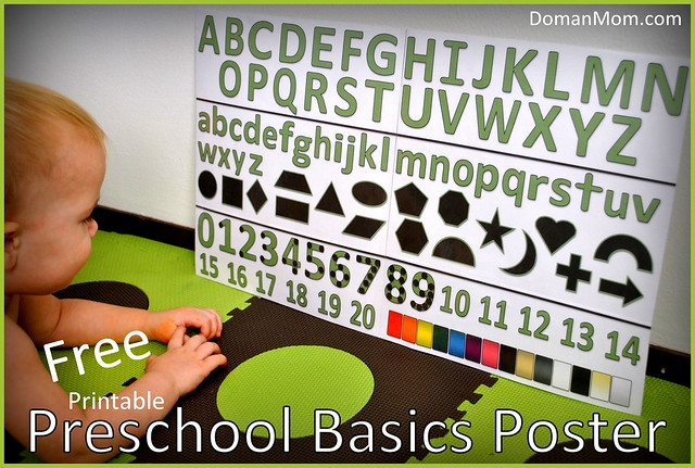 Free Preschool Basics Poster – Alphabet, Numbers, Shapes, and Colors
