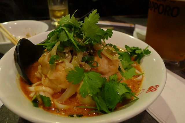 shrimp wonton dan dan noodles