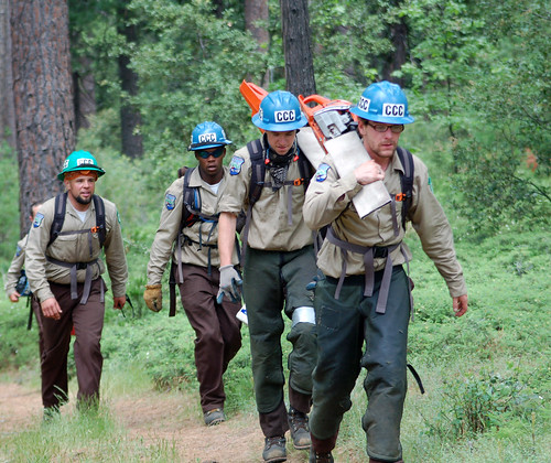 California Conservation Corps workers perform hazardous fuels thinning and are also building stream crossings, drainage structures and other trail stabilizing features to protect trails. The work also corrects existing and potential resource damage from erosion and sedimentation on existing trails.