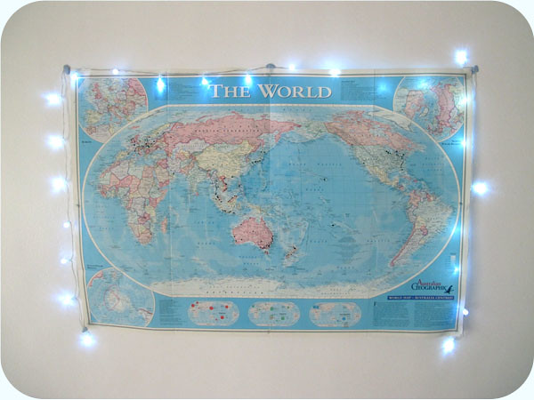 world map with fairy lights