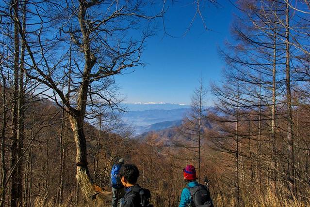 登山道から南アルプスを望む