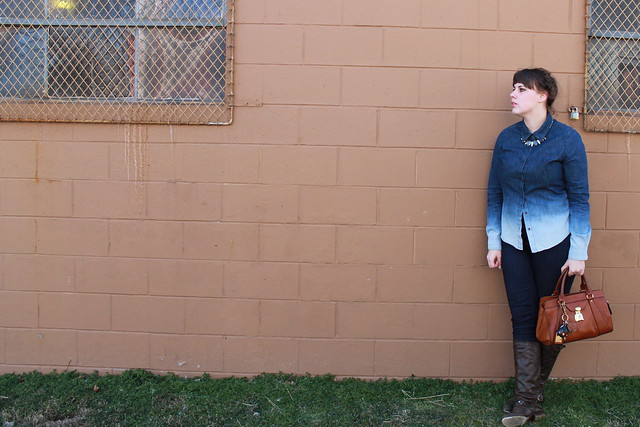 "Texas Tux Outfit: Ombré chambray shirt, skinny jeans, brown leather boots, maiden braids, Lauren by Ralph Lauren ""Winslow Satchel"" bag"
