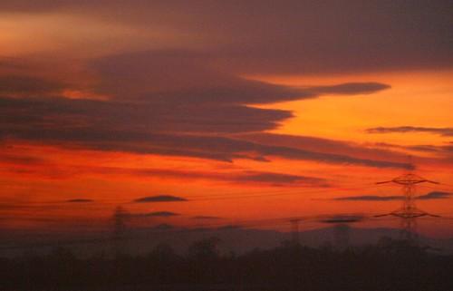 red sky motion window clouds sunrise cumbria carlisle shap