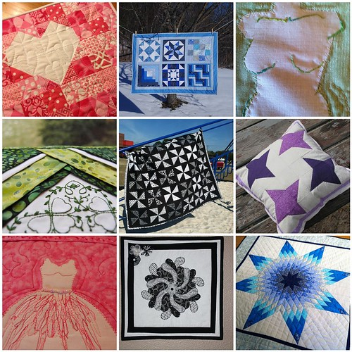 9 quilts created for the Project QUILTING - My Favorite Color Challenge