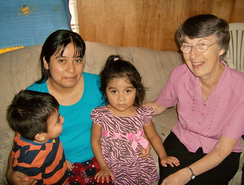 Brigid Dunne SSL visits a hispanic family in Ahoskie. Both Brigid and Teresa conduct regular home visits with many families in the Ahoksie area to asses their social, educational, medical and other needs.