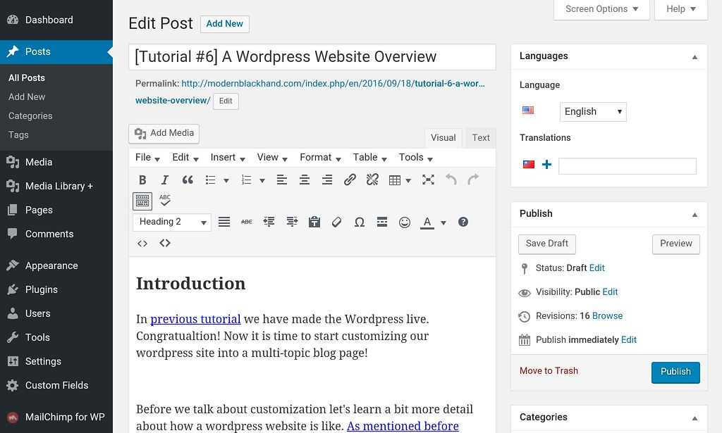 WP post edit page