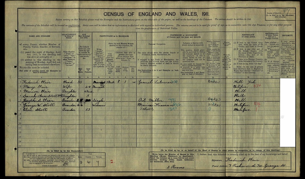 Joseph S Hair 1911 census