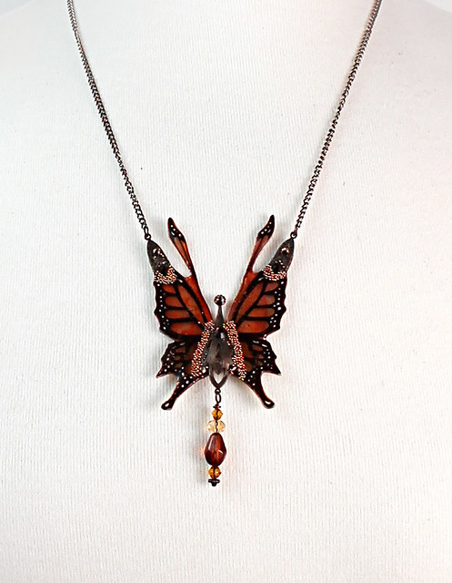 Crystal Fairy Wings Necklace in Monarch Design Closeup