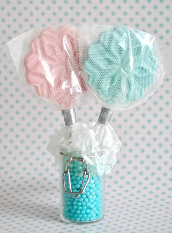 Packaged snowflake lollipops