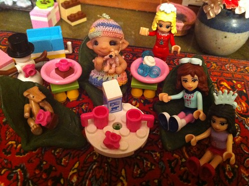 "Baby Pearlie Presides Over Tea w/ ""Friends"" and her new Tea Table w Jello & Cream by DollZWize"