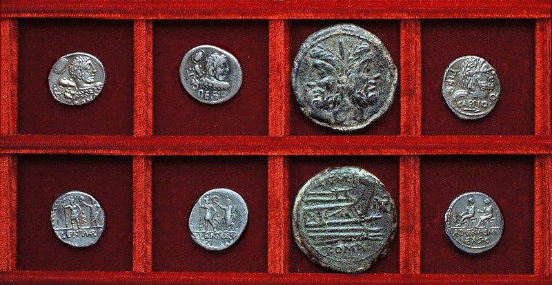 RRC 329 LENT MAR.F. P.E.S.C. Cornelia denarii, as, RRC 330 PISO CAEPIO Q. AD FRV EMV EX SC, Calpurnia, Ahala collection, coins of the Roman Republic