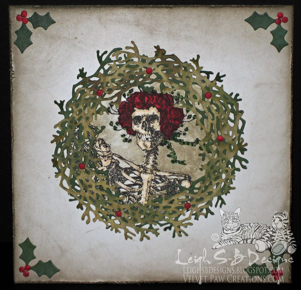 Rose Skellie Creepmas Wreath Card made TOP 3 at Forever Night Challenges
