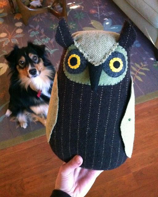 hand sewn wool owl doll