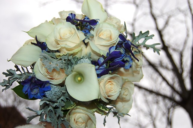 wedding bouquets bridesmaids blue and white winter wedding bouquet flickr photo 8495