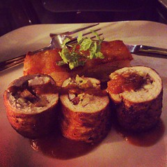 Roasted turkey roulades with chestnut stuffing and potato gratin...