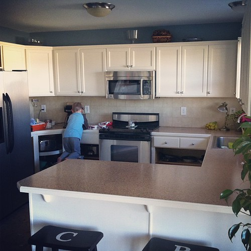 Top half is almost done. Disregard the bottom. Open cabinets are in style, right?