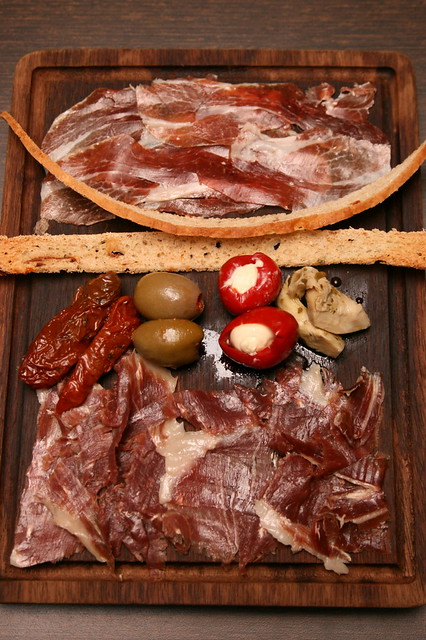 Two kinds of aged Jamón Ibérico on the Spanish Ham platter