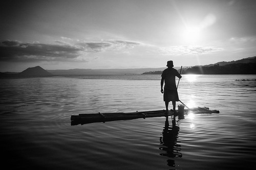 lake monochrome volcano fisherman taal