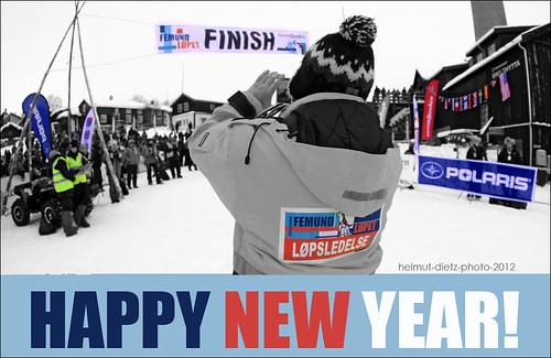 FINISH LINE in Røros, Norway: Femundløpet Løpsledelse, Femundlopet Rennleitung, Happy-New-Year, helmut-dietz-sled-dog-photography, 2012
