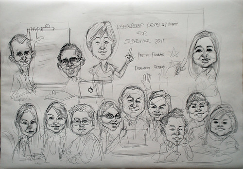 Workshop group caricatures for Genentech (Roche) sketch