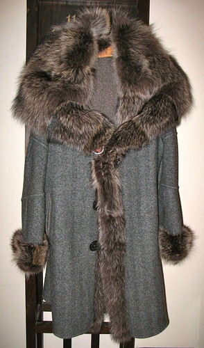 Cashmere coat, raccoon trim