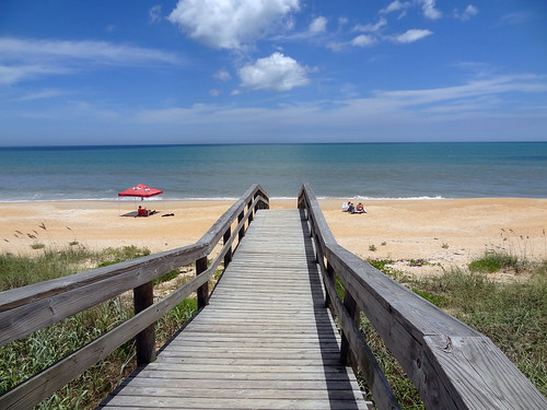 ocean wood bridge vacation sky sun beach water beautiful sand florida sunny a1a