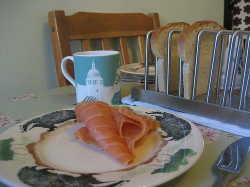 New Year's Day breakfast - coffee and smoked salmon with toast