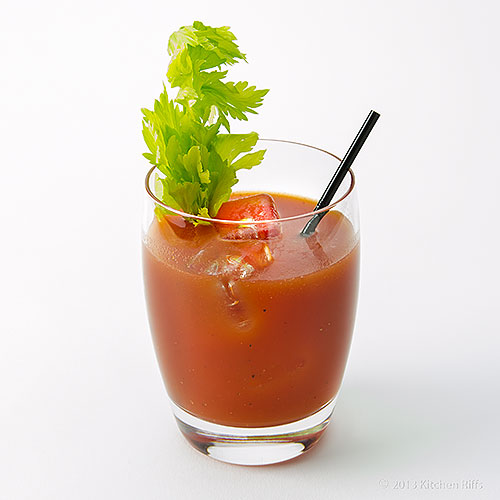 Bloody Mary Cocktail in Rocks Glass with Celery Garnish