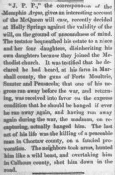 Peter McQueen Death and Will, Daily Union and American, Nashville, TN, May 6, 1866