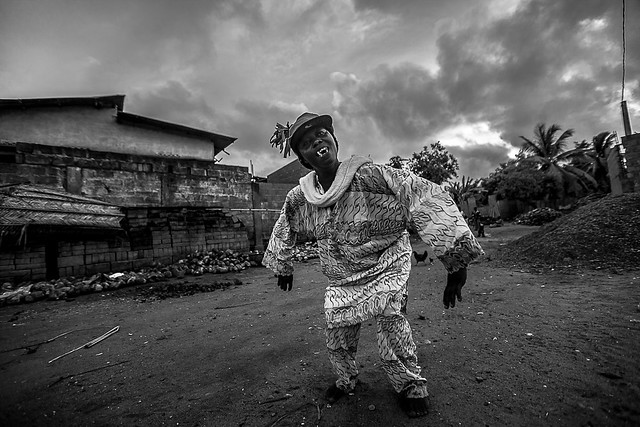 woman dance during voodoo ceremony in a village in Togo