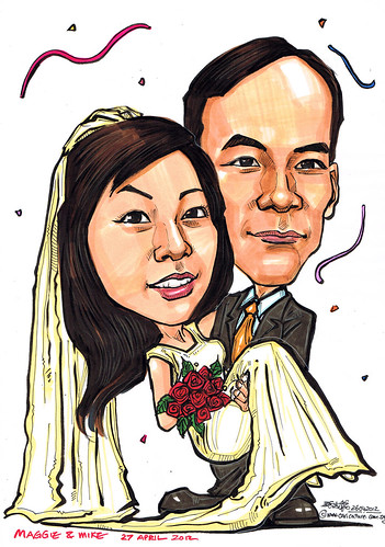 Wedding couple caricatures in color marker 26042012