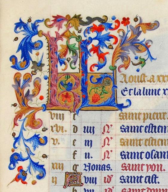 3_Initiales_KL_d'Août_-_Très_Riches_Heures_du_duc_de_Berry_-_f9r