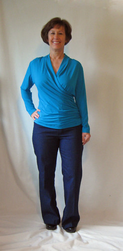 Wrap top aqua and jeans