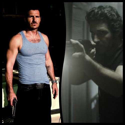 Ed Quinn sporting some weaponry