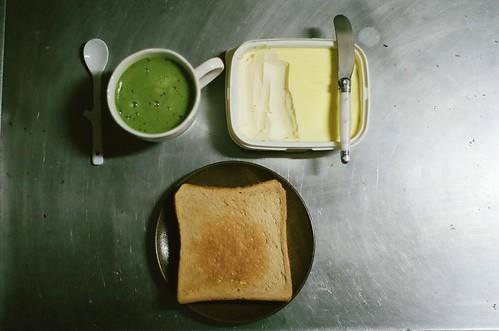 抹茶ラッテとトースト