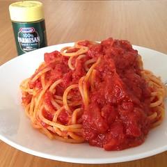 italian sausage(0.0), meat(0.0), produce(0.0), carbonara(0.0), meatball(0.0), tomato sauce(1.0), bucatini(1.0), spaghetti(1.0), pasta(1.0), pasta pomodoro(1.0), bolognese sauce(1.0), pici(1.0), food(1.0), dish(1.0), cuisine(1.0),