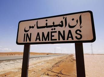 Sign for In Amenas gas field in Algeria where a hostage crisis has lead to the death of dozens of Algerians and foreign nationals. The group holding the personnel are demanding an end to French military operations in neighboring Mali. by Pan-African News Wire File Photos