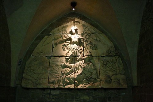 Foundation legend bas-relief, Mont-Saint-Michel, France