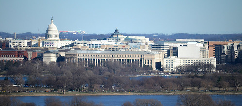 Looking ENE at US Capitol - Bureau of Engraving - Arlington National Cemetery - 2013-01-18