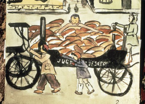 bread-on-hearses – teckning från Theresienstadt