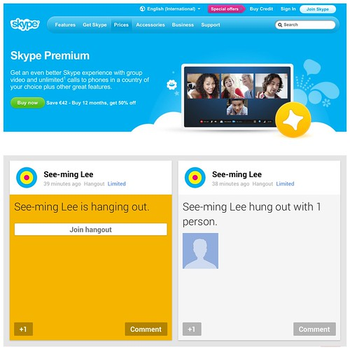 """Skype screen share becomes premium; Google+ Hangout = free;"" $MSFT $GOOG / SML.20130123.SC.NET.Comm.Tools.Skype.Google.Plus.Opinions"