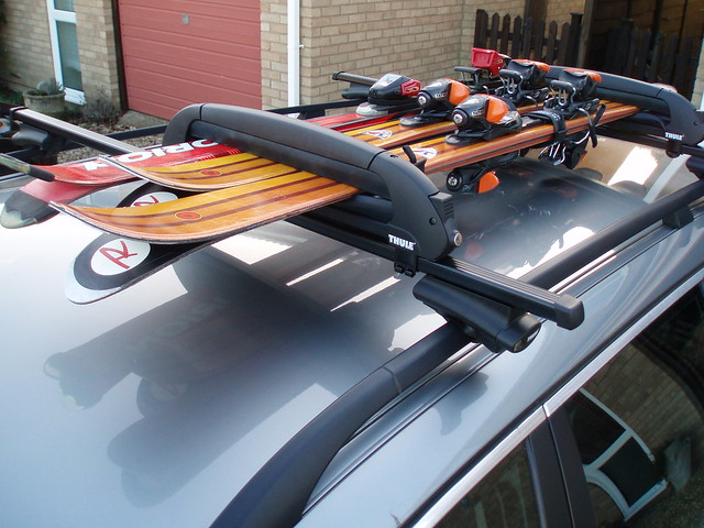 Photo:Ski rack on BMW 520 Touring By:eric.rayner@btinternet.com