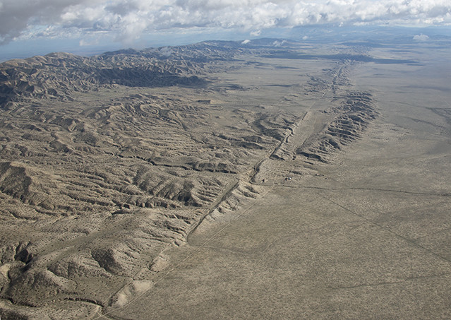 Aerial view of the San Andreas Fault, Carrizo Plain, California ...