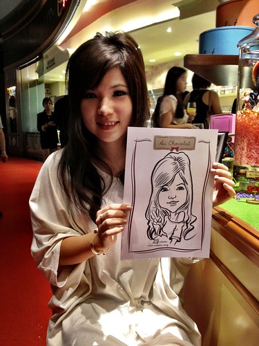 caricature live sketching for Au Chocolat Opening - 10