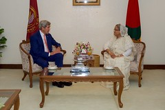 U.S. Secretary of State John Kerry sits with Bangladeshi Prime Minister Sheikh Hasina Wazed at the Prime Minister's Office in Dhaka, Bangladesh, before a bilateral meeting on August 29, 2016. [State Department Photo/ Public Domain]