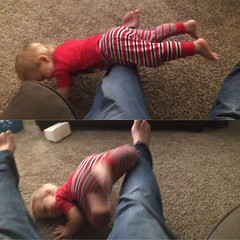 Going for the gold in leg flipping. This kid.