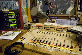 KMUD studio C during pledge drive, band playing in studio