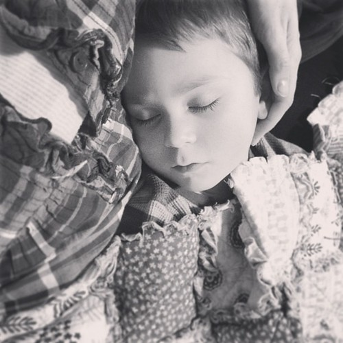 My stomach bug didn't go too far, as Isaac has been diagnosed with influenza. So hard to see him sick, but totally soaking up his feverish cuddles. #baby1 with #baby3 #holdthemclose