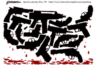 U.S. Map made from guns dripping blood