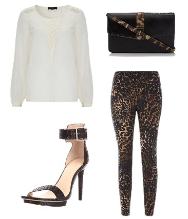 White Top with Animal Print Trousers